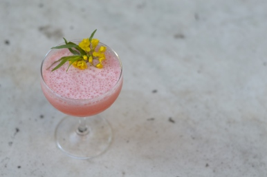 Strawberry Feilds | 1.5 Barsol Pisco | .75 oz. lemon juice | 1/5 oz. white peppercorn syrup | 1.5 oz. strawberry juice | 2 oz. buttermilk | 1 egg white
