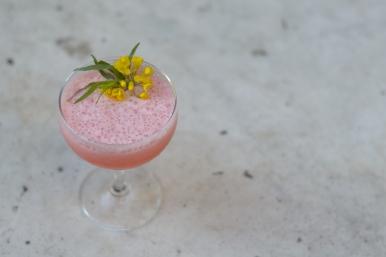 Strawberry Feilds | 1.5 Barsol Pisco | .75 oz. lemon juice | 1/5 oz. white peppercorn syrup | 1.5 oz. strawberry juice | 2 oz. buttermilk | 1 egg white